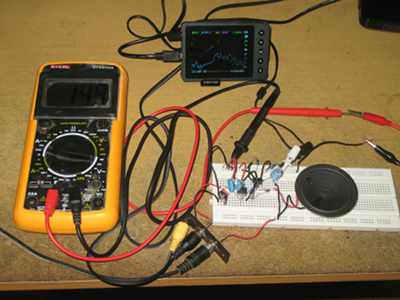 Figure 1. Assembled Small Power Amplifier Using Op-Amp and Transistors