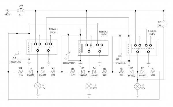 More Complex Chasing Light Controller Using Relays ...