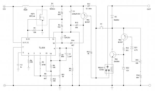 Figure 1. Circuit's Schematic Diagram of Hamuro's Step Up DC-to-DC Converter 12V to 19V for Laptop