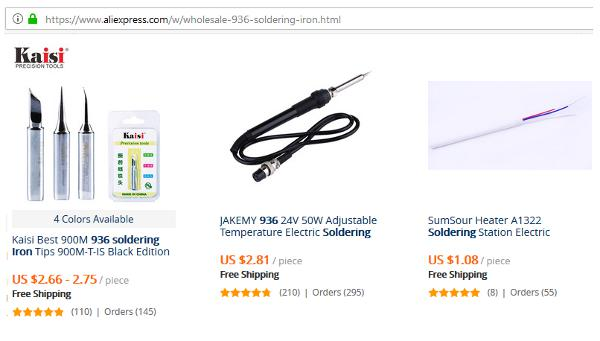 Figure 1. Some 936 Series Soldering Iron Shown An Online Marketplace