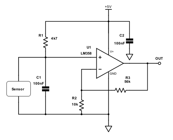 Figure 4. Simple Signal Conditioning Circuit for RTD and Thermocouple Sensor