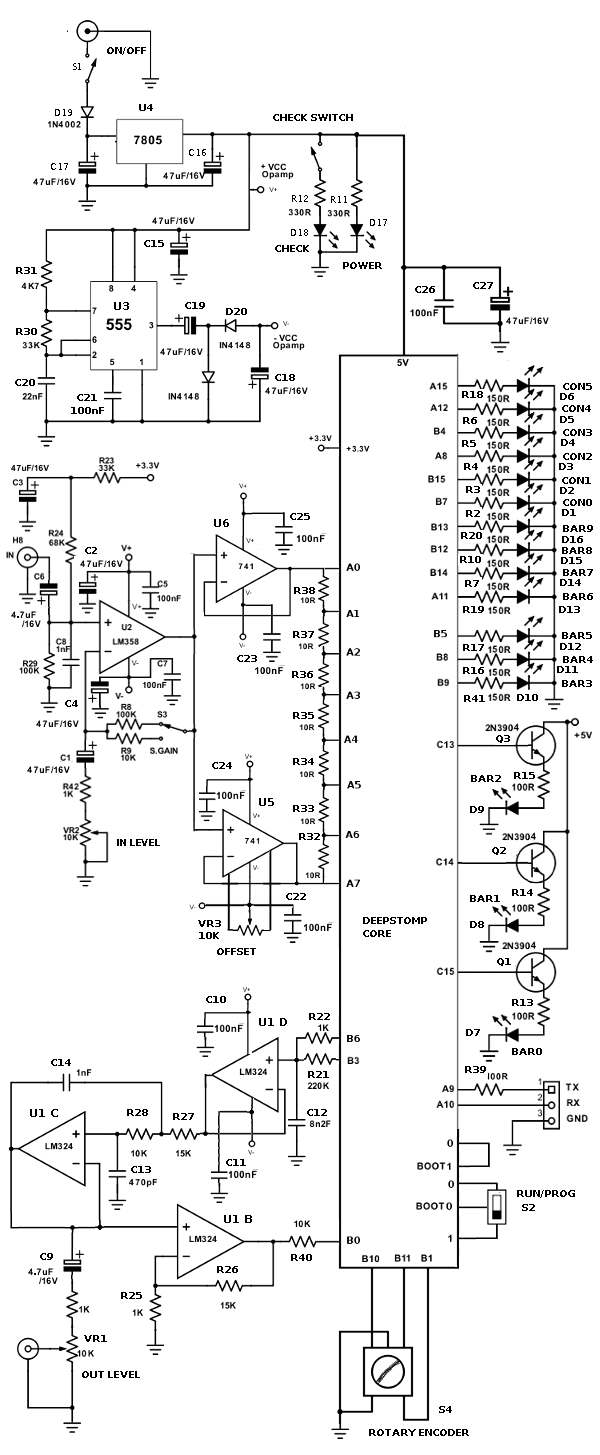 schematic diagram of diy multi-effect pedal