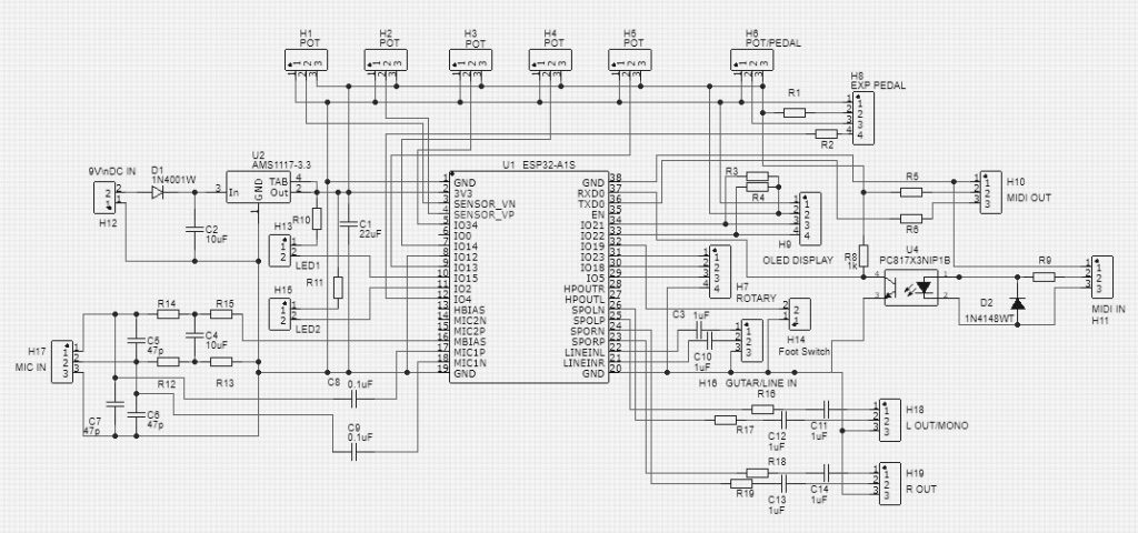 ESP32-A1S Guitar Multi-Effect Engine with Microphone and
